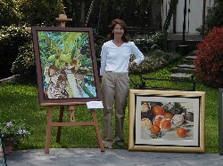 Jackie and her paintings
