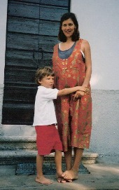 With my first-born in the house where I spent the last period of my second pregnancy, in Italy