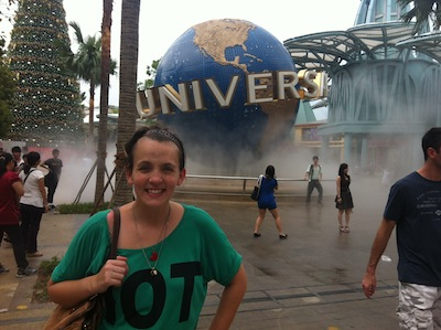 Kate, outside Universal Studios, Singapore