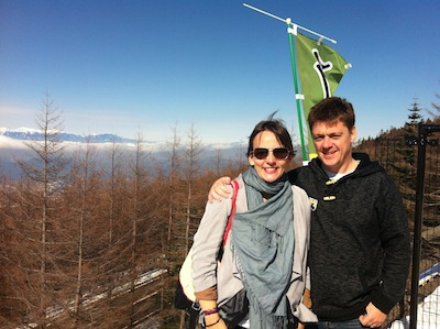 Kate and her husband Darren at Mount Fuji, Japan